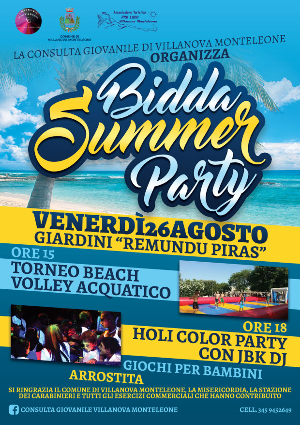 Locandina Bidda Summer Party 2016 Villanova Monteleone